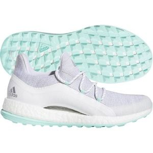 Adidas Women's Pure Boost XG 2 Spikeless Golf Shoes. Grey/white/teal